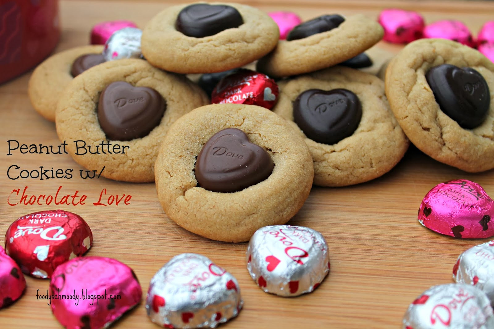 peanut butter cookies with chocolate love