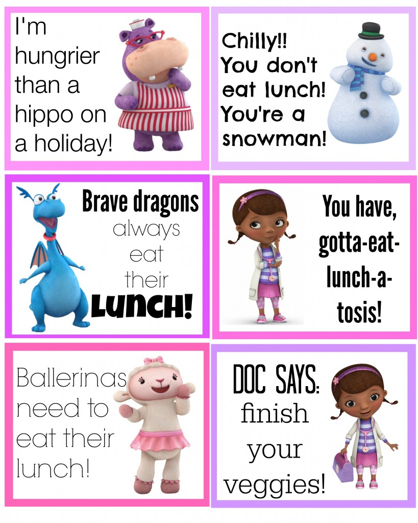 doc mcstuffins lunch box notes