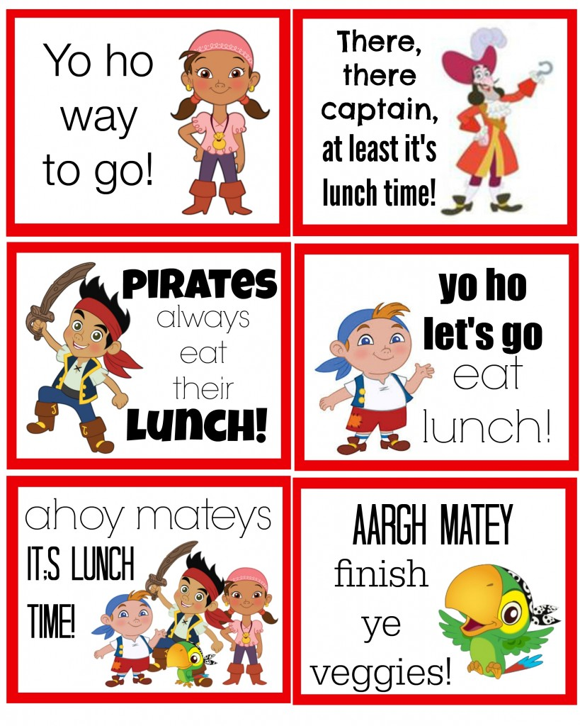 jake and the neverland pirates lunch box notes