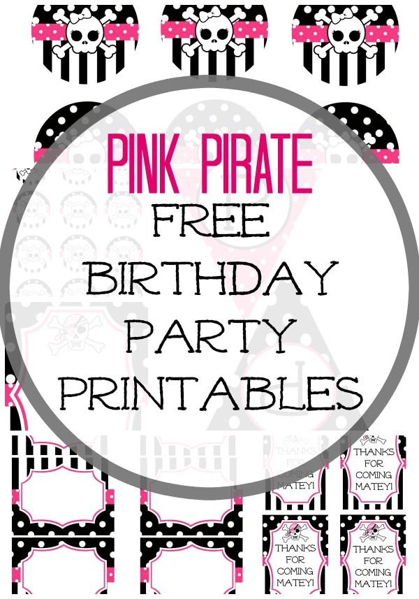 pink pirate free party printables