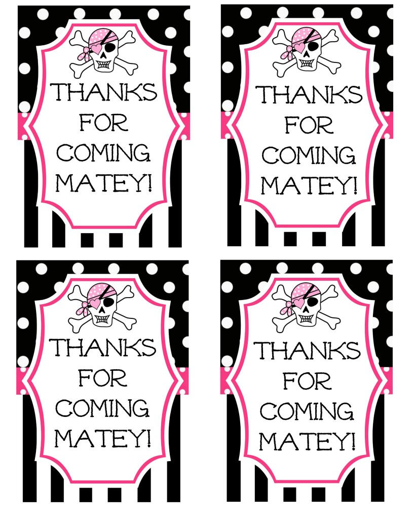 Pink Pirate Party Favor Tag
