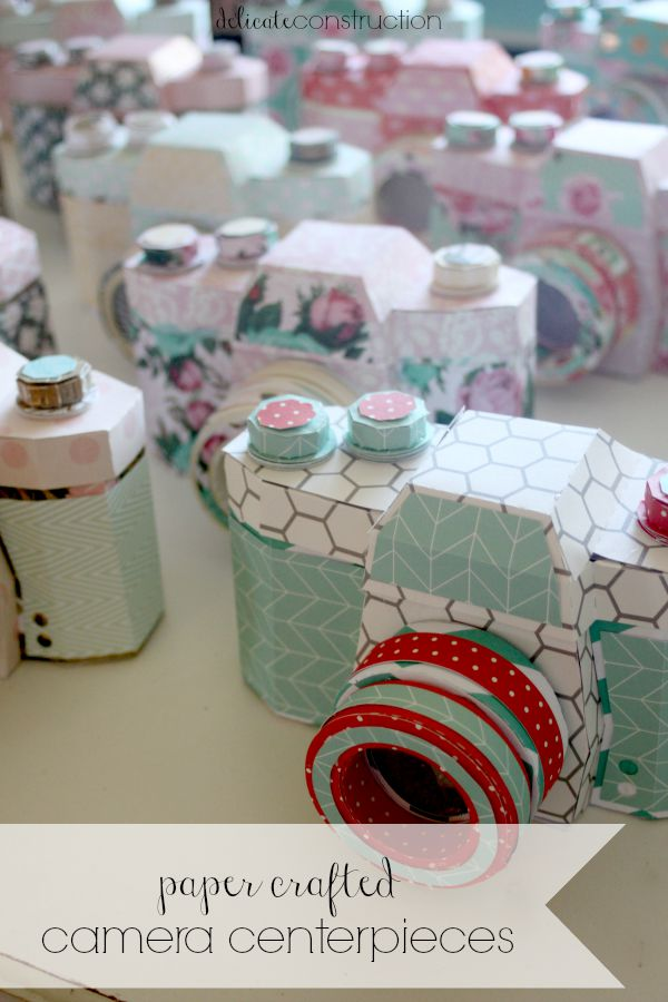 paper crafted camera centerpieces