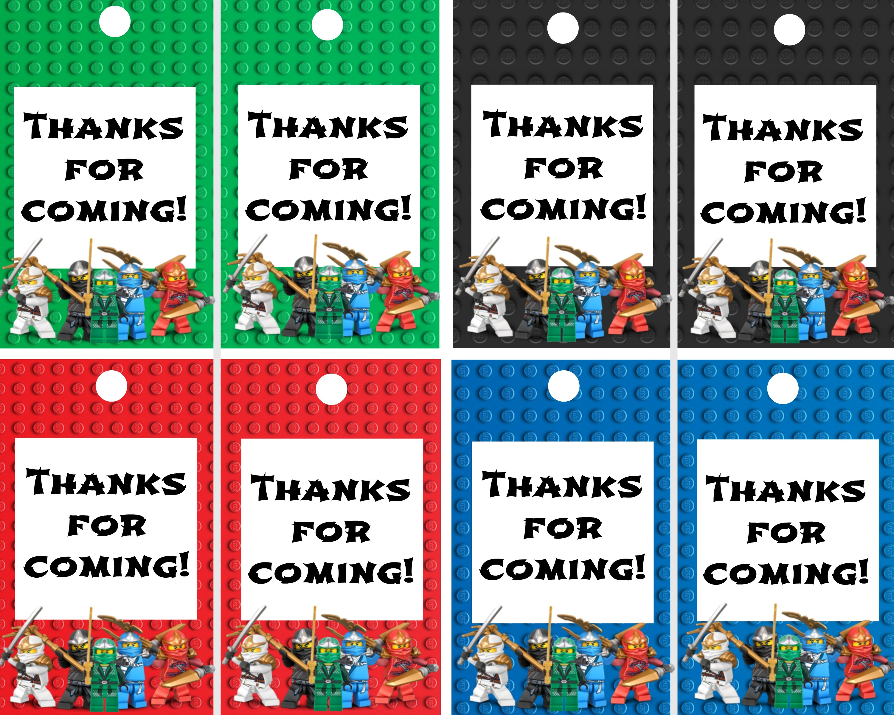 Ninjago Thank You Labels